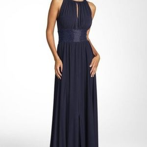 JS Boutique Navy Blue Sleeveless Gown